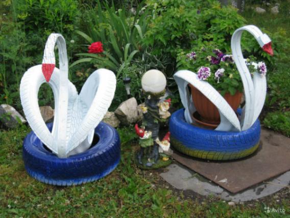 Как сделать лебедя из покрышки?