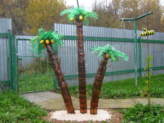Как сделать пальму из пластиковых бутылок?