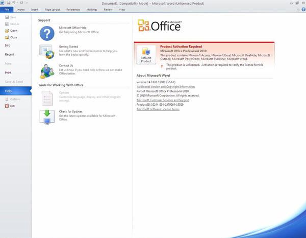 Как активировать microsoft office 2010?