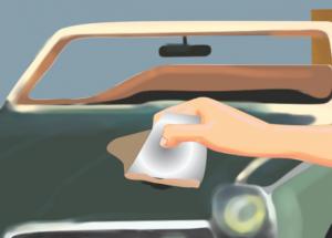 зачистка детали автомобиля под покраску