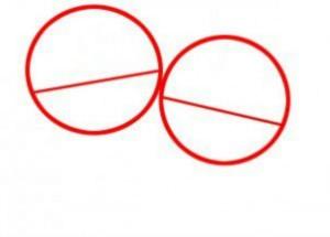 Нарисуйте круг и разделите его наклонной линией