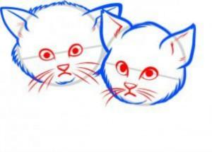 К голове подрисовываем ушки, глазки, нос, усы и рот